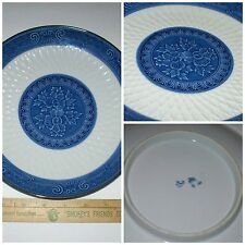 Nice!! Old Porcelain Blue & White Colored China Lotus Flower Weaved Plate Signed