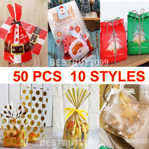50 x Christmas Cellophane Bags Party Cello Cookie Sweet Candy Biscuit Gift Bag