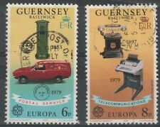 GUERNSEY 1979 EUROPA COMMUNICATIONS PAIR OF COMMEMORATIVE STAMPS USED