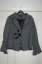 New Sz 12 boucle Grey&Black Patch pattern Waist Jacket Coat Flare Sleeve Popper
