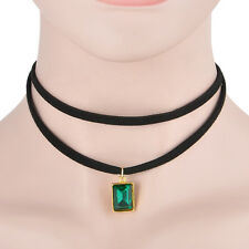 Women Emerald Green Square Crystal May Birthstone Costume Jewelry Necklace