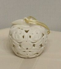 Wedgewood Apple Christmas Ornament Ivory Gold Accents Boxed Scroll Design