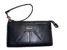 Coach Wallet Wristlet Smooth Black Leather Zipper