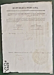 PERU stampless LIMA FRANCA on official letter 1848 emergency print document 1841
