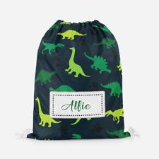 Personalised Green Dinosaur Boys Girls Kids PE Swimming School Drawstring Bag