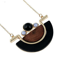 Wooden Geometry Round Wood Black Vintage Collier Big Necklace Pendant Long Chain