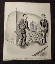 Vintage Charles Chas Sage 8x10 One Panel Gag Original Art B&W w/ Wash NO TIE