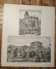 Antique Steel Engraving - FOREST HILL/RES. OF F.D. MILLS - 1887 KANSAS ATLAS