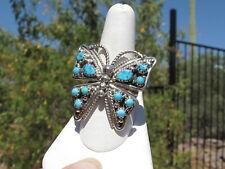 Sleeping Beauty Turquoise Sterling Butterfly Ring, sz 10, Signed T.Jones, Navajo