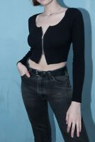 brandy melville crop ribbed cotton long sleeve zip up zelly top NWT sz S