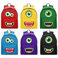 Monster Face 2 Pocket Backpack Rucksack School Funny Kids Cute Bag NEW