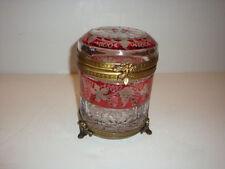 Rare Cranberry Hand Cut Crystal Box Switzerland C 1900!