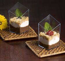 2.5 oz Diamond Cube Plastic Mini Shot Glass / Dessert Cup Black 200 Pcs Party