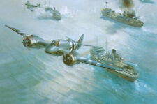 Frank Wootton RAF Bristol Beaufighter Strike Wing Attack print signed 5 pilots