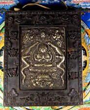 Tibetan QUAN YIN CHENREZIG Bronze and Wood WALL PLAQUE