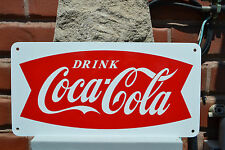 CocaCola Soda Vinatge Fishtail Look Metal Sign Coke Fountin Advertisng Free Ship