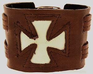 Armband Leder EK Eisernes Kreuz Lederarmband Braun Weiß Echtleder