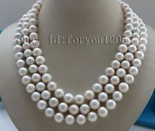 Round Pearl Necklace 925silver #f2383! 3rows Natural 11mm White (little gray)