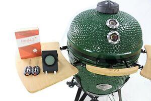 """YNNI 25"""" GREEN XL Chip Feeder Kamado Bundle BBQ Grill Extras Trolley TQTT25GR"""