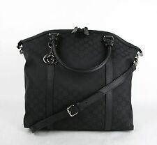$1150 New Gucci Black GG Nylon Handbag with Interlocking G Charm 339551 1000