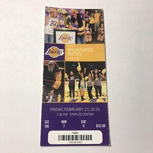 Los Angeles Lakers Milwaukee Bucks NBA Basketball Game Ticket Stub February 2015