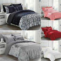 Duvet Cover King Modern 3 Piece Crushed Velvet Quilt Red Grey Black White Silver