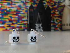 Handmade MonkiStuff Skeleton Head Earrings made from LEGO® Heads Halloween
