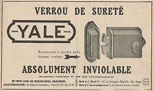 Y7243 Verrou de Sureté YALE - Pubblicità d'epoca - 1923 Old advertising