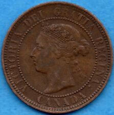 Canada 1886 1 Cent One Large Cent Coin - VF/EF