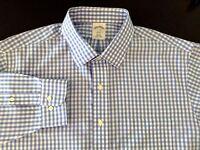 Brooks Brothers Shirt Blue Gingham Plaid Slim Fit Non Iron Cotton Size 17