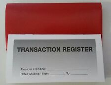 4 - Checkbook Transaction Registers & 1 Red Vinyl Check Book Cover - Duplicate