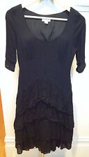 WITCHERY Black Sheer Crepe Rayon Round Neck 3/4 Sleeve Frill Layered Dress  8