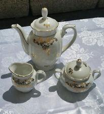 BAVARIA Gareis Germany 41 Porcellana Ceramica Set 3 Teiera Zuccheriera Filo Oro