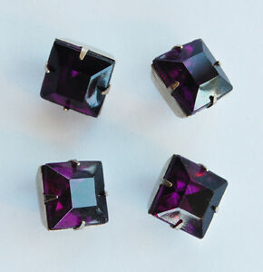 VINTAGE SQUARE GLASS BUTTONS • 12mm • SILVER SHANK • ASSORTED COLORS
