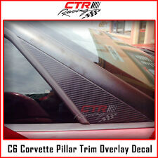 C6 Corvette Decal Pillar Trim Overlay Black Carbon Fiber 05-10