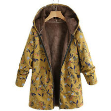 New Women Winter Warm Outwear Floral Print Hooded Pockets Vintage Oversize Coats