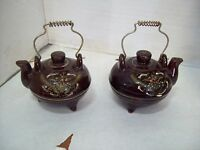 Vintage Brown Teapot Salt & Pepper Shakers With  Wire Handles  JAPAN C3