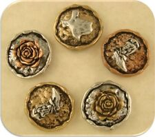 2 Hole Beads Texas State, Rose & Cowboy Boot in Rustic 3T Metal ~ Sliders QTY 5