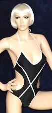 sexy Lycra Glanz Badeanzug, Body, Schwarz mit weißen Bändern, Gr. 40, Swim-Suit