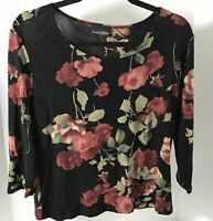 Brittany Black Floral Blouse S/M Club-Wear Stretch Sheer Textured Quality Top LN