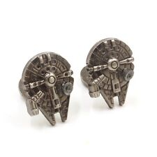 Cufflinks Star Wars 7 Millennium Falcon silver Clr War Space Ship Cuff Links blk
