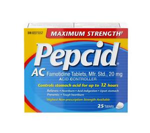 Pepcid Maximum Strength AC Tablets, Acid Reducer for Heartburn (25 Count)
