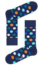 Happy Socks Navy & Big Dots UK Size 7 - 11 Unisex Fun Mens Dotty Cotton Sock