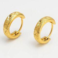 Wedding Earrings 18k Yellow Gold Filled 15mm Charms Hoop Women Jewelry