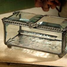 Jewelry Keepsake Box Antique Style Heart Theme Clear Beveled Glass Beaded Border