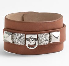 Juicy Couture Bracelet Crystal Pyramid Cuff Leather NEW $78
