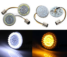 "White/Amber 1157 Bullet 2"" LED Turn Signals Lights Inserts For Harley Davidson"