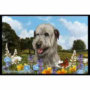 Irish Wolfhound Grey Summer Flowers Floor Mat