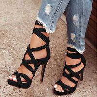 Women High Heels Ankle Strappy Peep Toe Summer Zipper Dress Party Shoes Stiletto