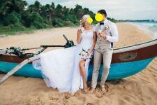 Designer Spiaggia Abito da Sposa Taglia Alto EUR 40/42 UK 14/16 Long Trail